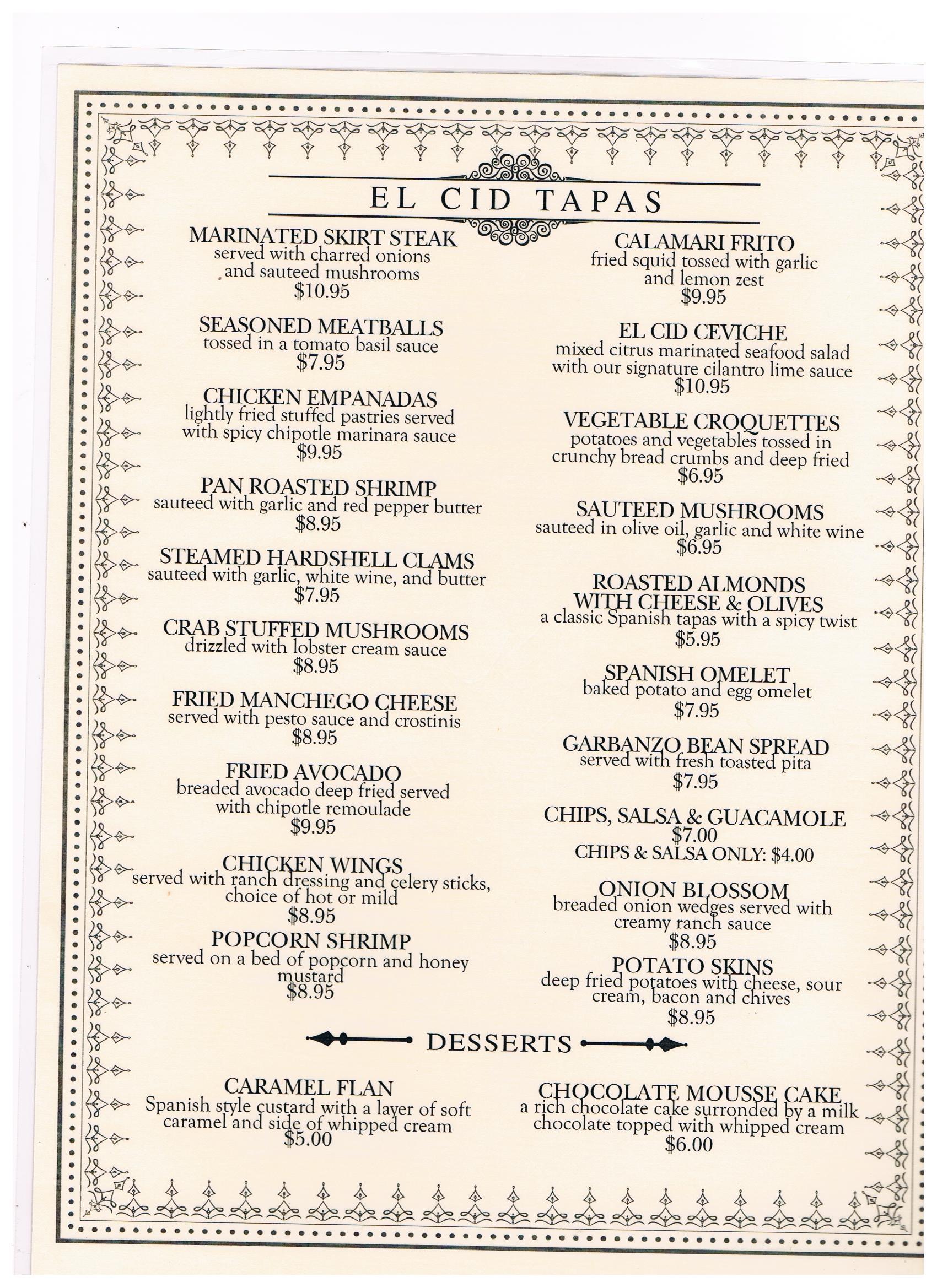 Weekly menu template word for Tapas menu template